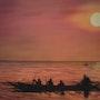 Toile peinte mixte Airbrush- Pinceau » Calme Amazonien». Dim: 30 X 40 cm. Lionel Fiore