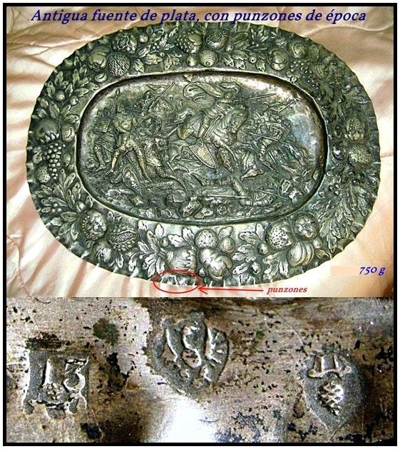 Gravierten silbernen Tablett, mit Schlägen der Herkunft.  Antonio P Macias