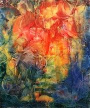 Encaustique sur toile originale 30 X 30 «tulipes».