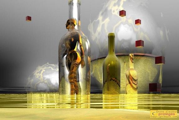 Paisaje de plasma 138 - gráfico de juegos con botellas -. Lauferartsuisse