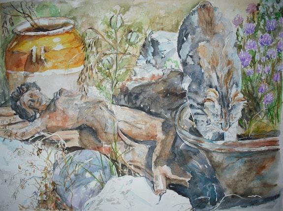 El gato en el jardín de hierbas. Altheia Althéia - Martine Vinsot