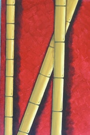 Bamboo on red.