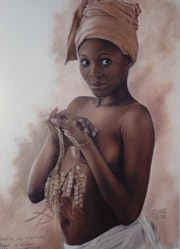 Woman with seeds in the hand.