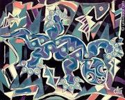 Gecko- original painting - Jacqueline_Ditt.