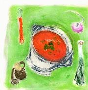 Tablespoons orange-Playing an original monotype. K-Tea