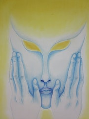 The being of light (pastels and chalk).
