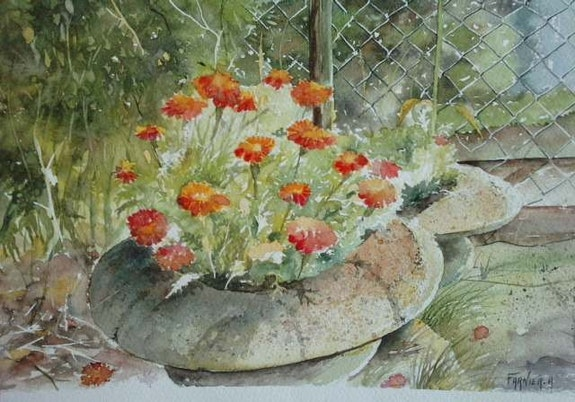 The flowers in the pot.  André Farnier