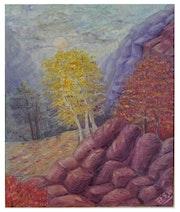 Sol de la montaña enriquecido la paleta del otoño.. Elen Arta