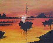 Puesta de sol en el Golfo de Morbihan.