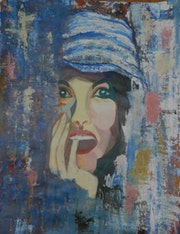 Woman in the blue cap.