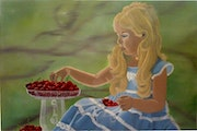 Painting child :The little girl with the cherries.