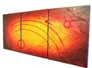 Enigmatic Gold abstract painting for sale red orange gold art work interior. Stuart Wright