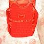 Bolso rojo de crochet. Marta Arberas