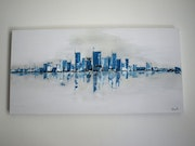 3D canvas modern ny white turquoise.