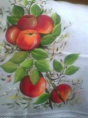 Pintura en tela frutas.