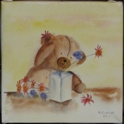 Aquarell Teddy Au Bouquet.