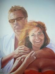 Una pareja en la playa.