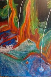 Manantial de agua mineral caliente en Bali, 70x50 cm 4,5 cm de profundidad.