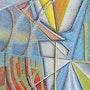 Puntillismo, abstracto, óleo sobre lienzo, la causalidad. Christian Blandin