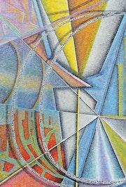 Puntillismo, abstracto, óleo sobre lienzo, la causalidad.