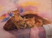 Aquarell Three Little Cats.