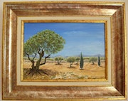 Blue sky and olives! Do you hear the crickets?.