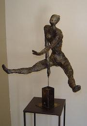 Mujer desnuda en el balance, la estatua de hierro y Lin, patina, Metal Escultura hasta. Pascale