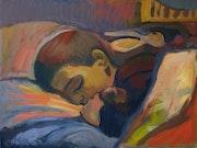 Pablo dormido. La pintura de acrílico sobre cartón. Gaulier