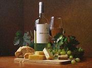 » Bodegon de vino blanco » oleo sobre lienzo. Richard Fernández