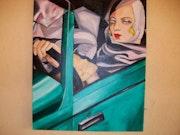 Frau im grünen Bugatti nach Tamara de Lempicka.