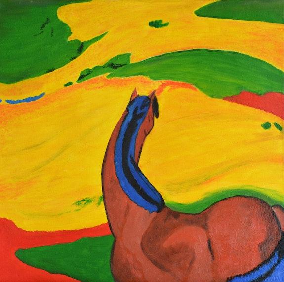 Cheval dans un paysage d'après une oeuvre de Franz Marc. Josi Josi