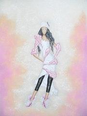 » Delphine (20) » - Dessin de Mode Femme - Pastel sec.