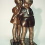 Secrets d'enfance bronze patine signé kelety. Marc Menzoyan Antiquités