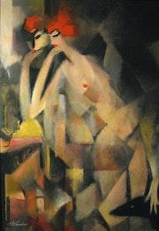 Femme au miroir, huile sur toile marouflée sur bois. Franck-Bernard Gaulier