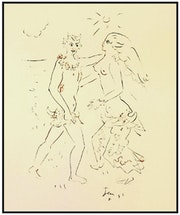 Jean Cocteau, «Le apres midi d'un Faune» color lithograph.