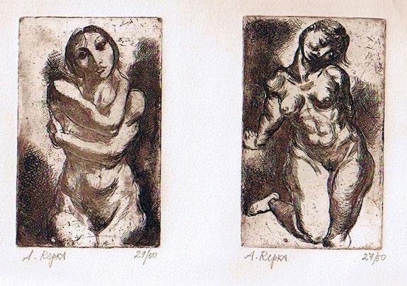 Two female nudes, etchings,. Alexander Repka Axel Zwiener