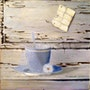Cup was blue daisy. Martine Moricet