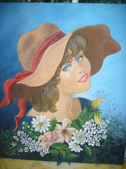 The lady in the hat an oil on canvas by myself.
