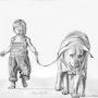Petit garçon et son chien. 33Domy