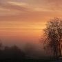 Lever de soleil dans la brume matinale. Michel Worobel