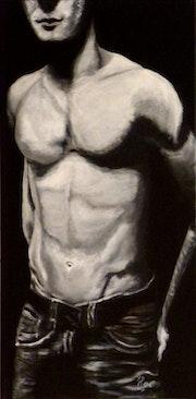 Homme - buste masculin - noir et blanc.