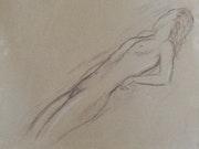 Femme nue étendue. Lauréline Ferrere