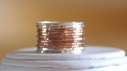 14K rose gold filled and sterling silver hammered stackable rings. Nadine Jewelry