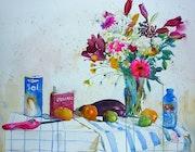 Bouquet aux pissenlits et marguerites.