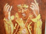 Jimi et le feu, peinture acrylique.