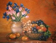 Tulipes roses au panier de fruits. Eliane Tessier-Gaudin