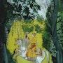 Les amoureux en promenade - peinture sous verre. Annie Saltel
