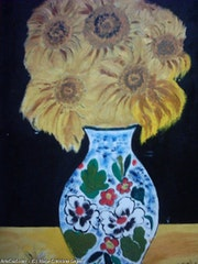 The vase of sunflowers.