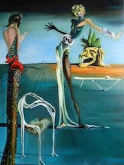 Femme à tête de Roses - D'après Salvador Dali. Anne Delpierre