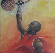 Slam dunk by Michael Jordan.
